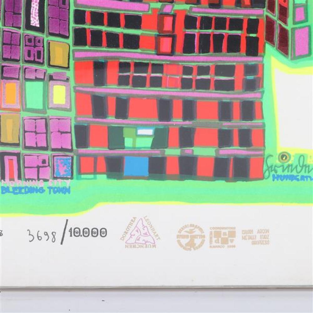Friedensreich Hundertwasser, (Austrian,1928-2000), Good Morning City Bleeding Town, 1969, serigraph in colors with embossed metallic...