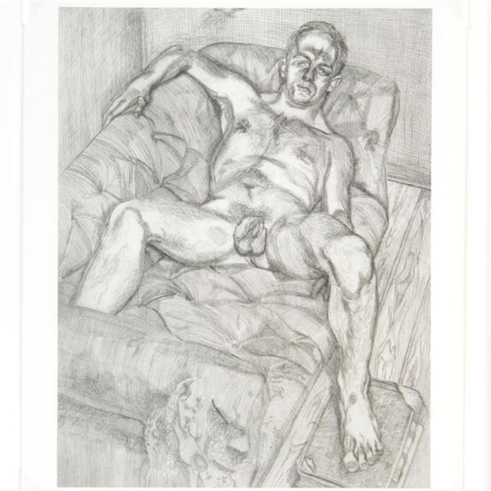 "Lucian Michael Freud, (German, 1922-2011), ""Man Posing"", offset lithograph 1993, 11 3/4""H x 9 1/2""W (sight), 15""H x 12 1/2""W (frame)"