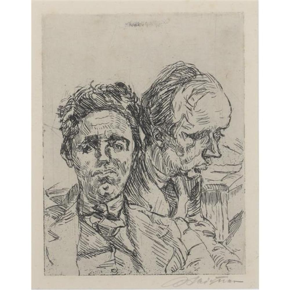 """Ludwig Meidner, (German, 1884-1966), DOPPELBILDNIS MIT JOHANNES R. BECHER, 1921, etching, 8 3/4""""H x 7""""W (sight), 13 1/2""""H x 12""""W (fr..."""