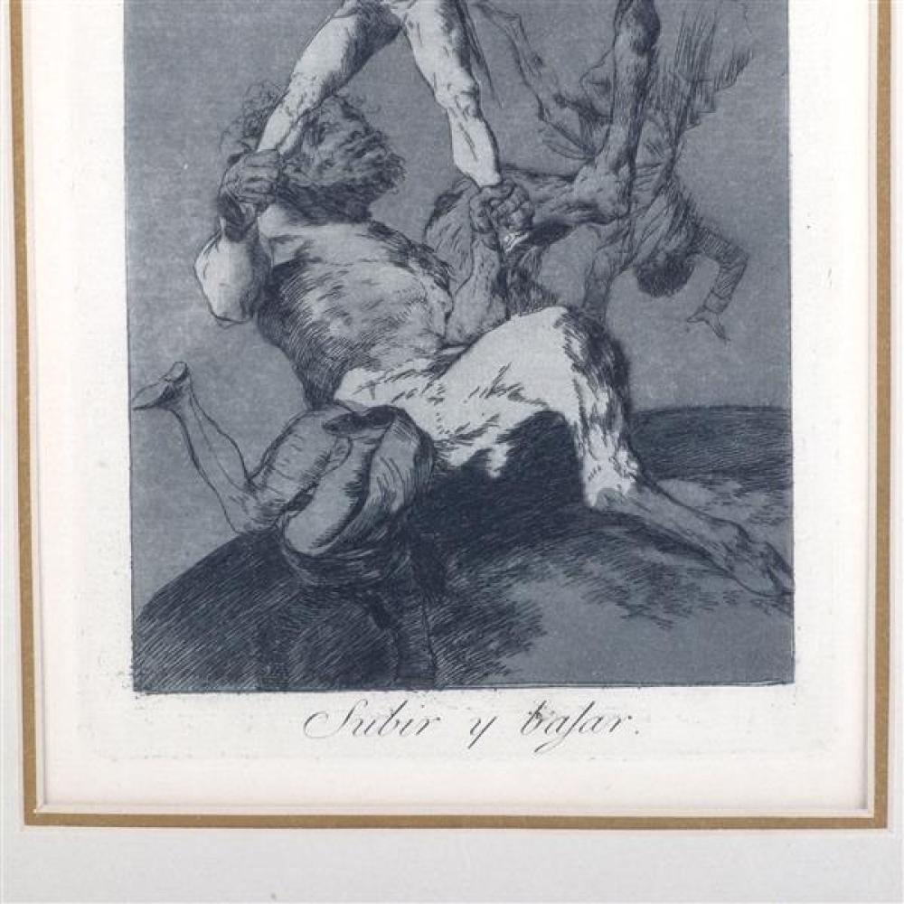"Francisco Jose de Goya, (Spanish, 1764-1828), Subir y Bajar, 56, etching and aquatint, 8 1/4""H x 5 3/4""W (plate), 20""H x 15""W (frame..."