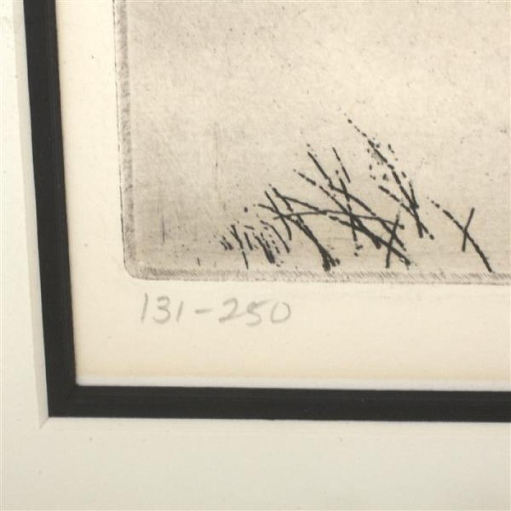 "Peter Winslow Milton, (American, b.1930), Winterscape VI, etching, 9"" x 12"" (plate)."