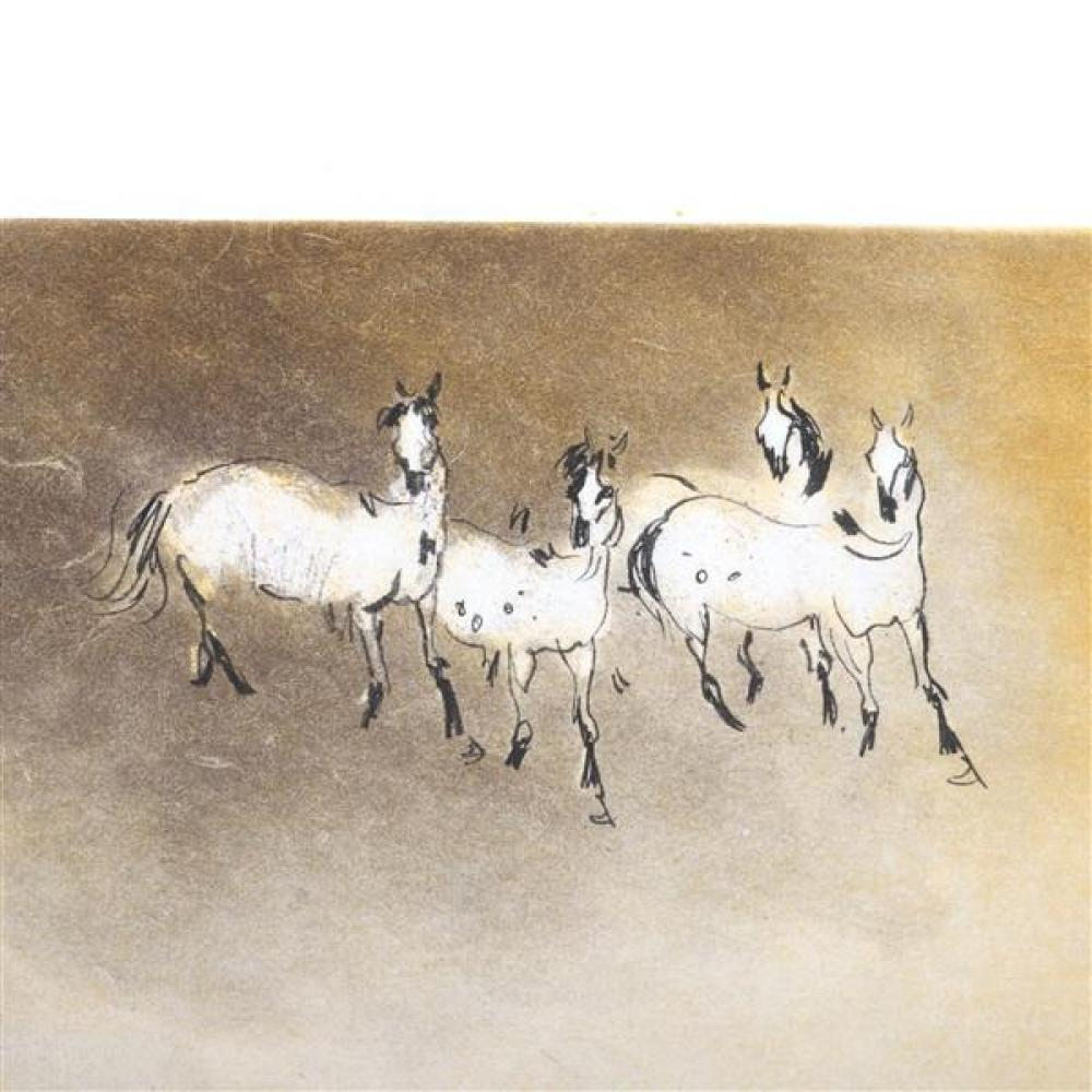 "Kaiko Moti, (Indian, 1926-1989), Horses, etching with hand coloring, 5""H x 7""W (plate), 9 3/4""H x 11 3/4""W (paper)"