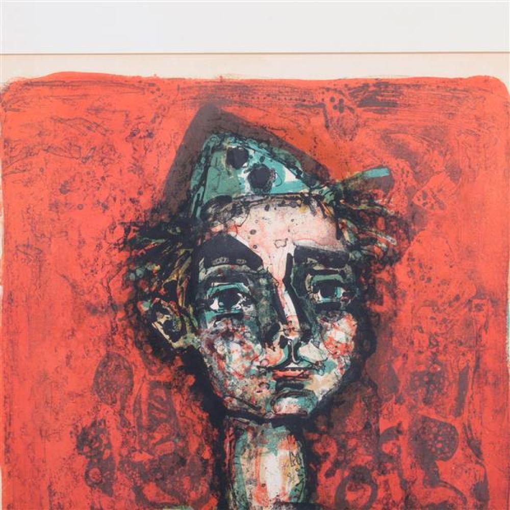 Paul Augustin Aizpiri, (1919-2016), portrait of a clown, lithograph, 21 1/2
