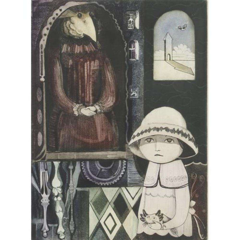 "Leticia Terrago, (Mexican, b.1940), Grandmother Image VIII, etching with hand coloring, 13 1/2""H x 9 3/4""W (sight), 22 1/4""H x 18""W..."