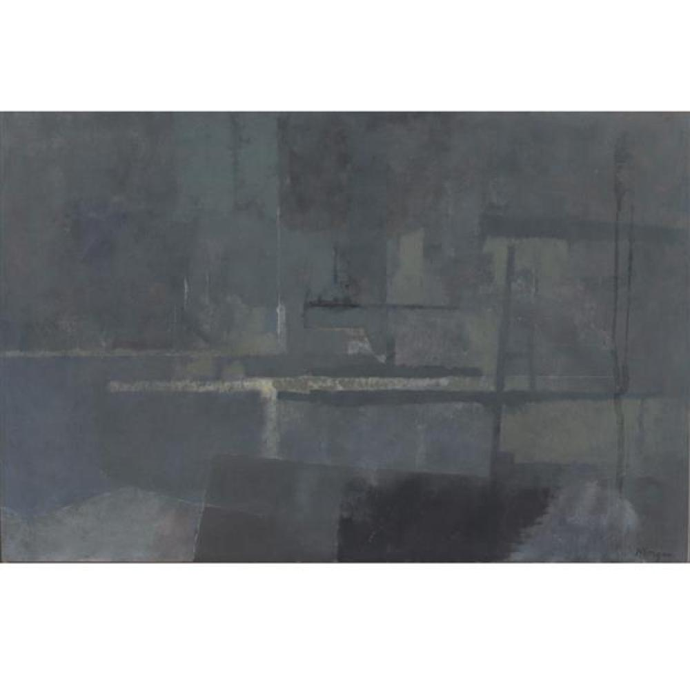 "Randall Morgan, (New York / Indiana, b.1920), New York Harbor, oil on board, 141/2""H x 22 1/4""W (panel), 15 3/4""H x 23 1/2""W (frame)"