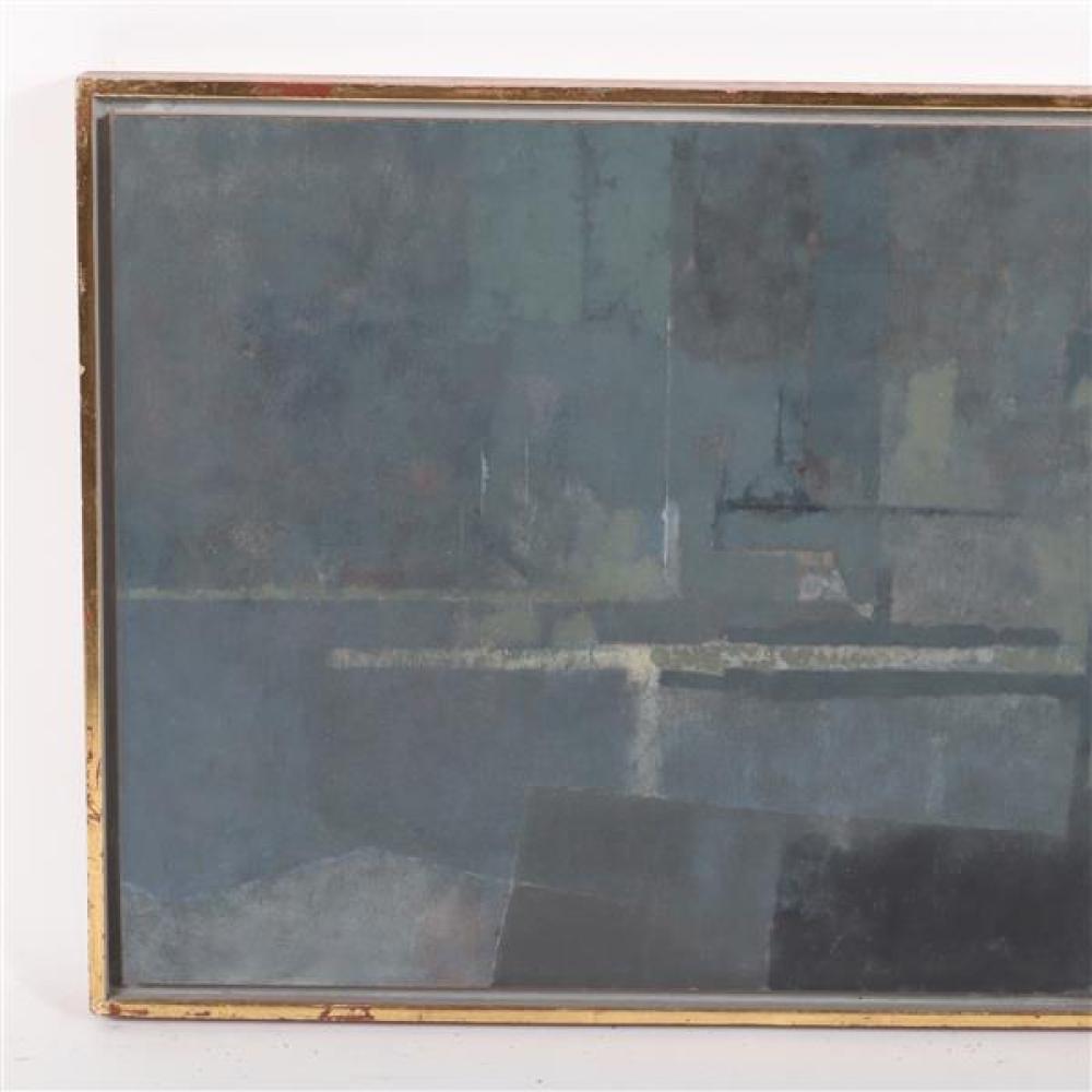 Randall Morgan, (New York / Indiana, b.1920), New York Harbor, oil on board, 141/2