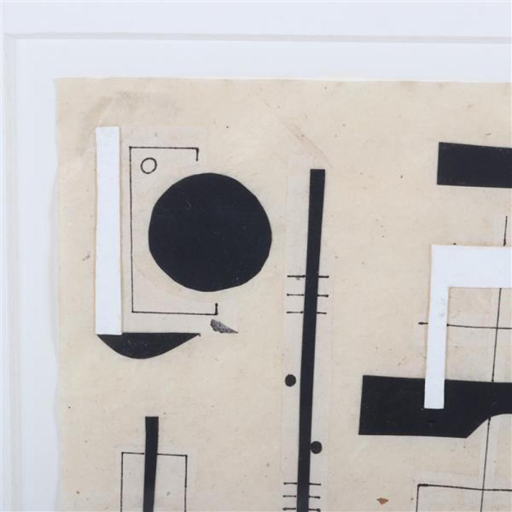 "Steven Conant, (American, 20th Century), untitled, 1997, collage in black and white, 7 3/4""H x 5 1/2""W (sight), 15""H x 13""W (frame)"