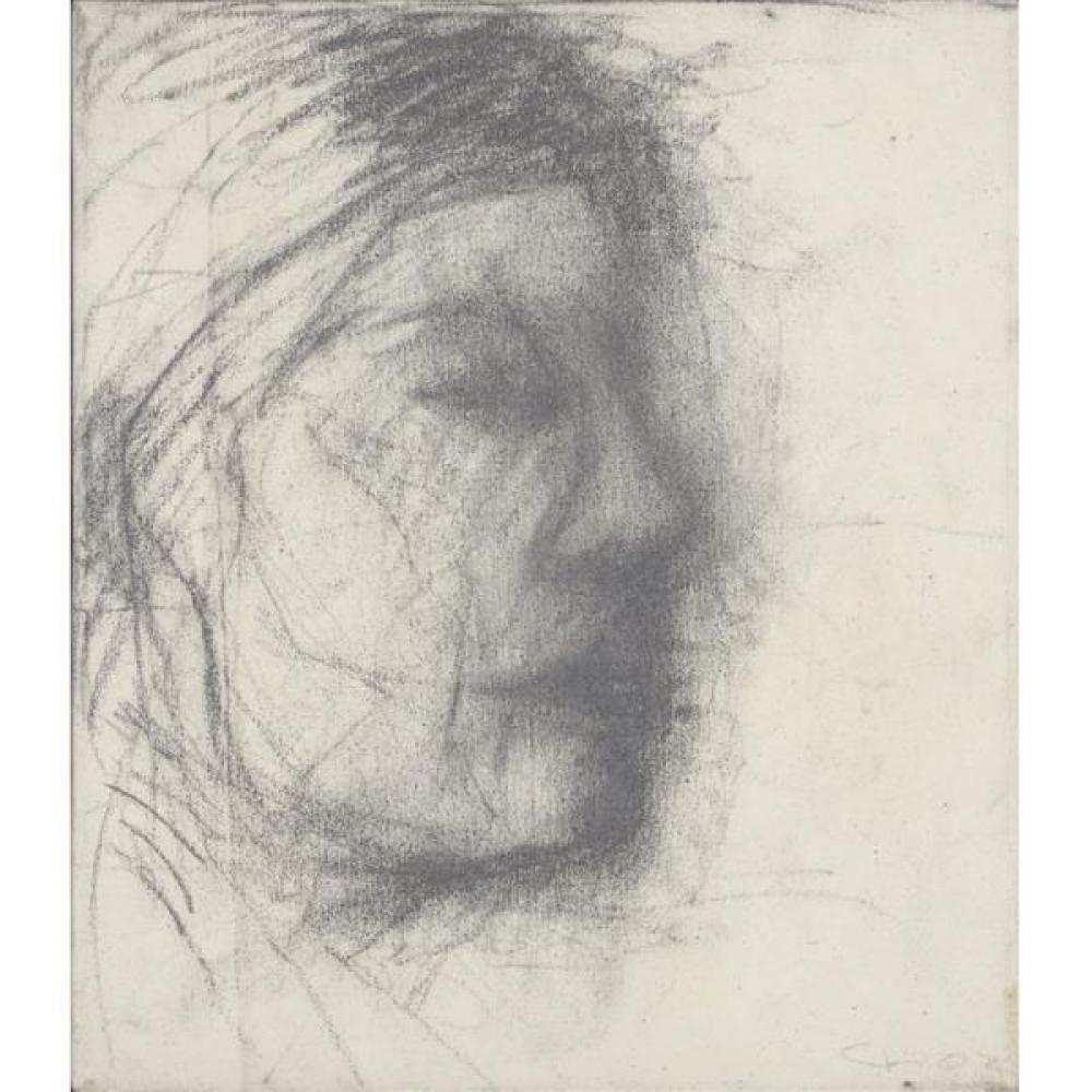 "Christos Koutsouras, (Greek, b.1957), expressionist profile portrait study, 2002, charcoal on canvas, 16""H x 13 3/4""W"