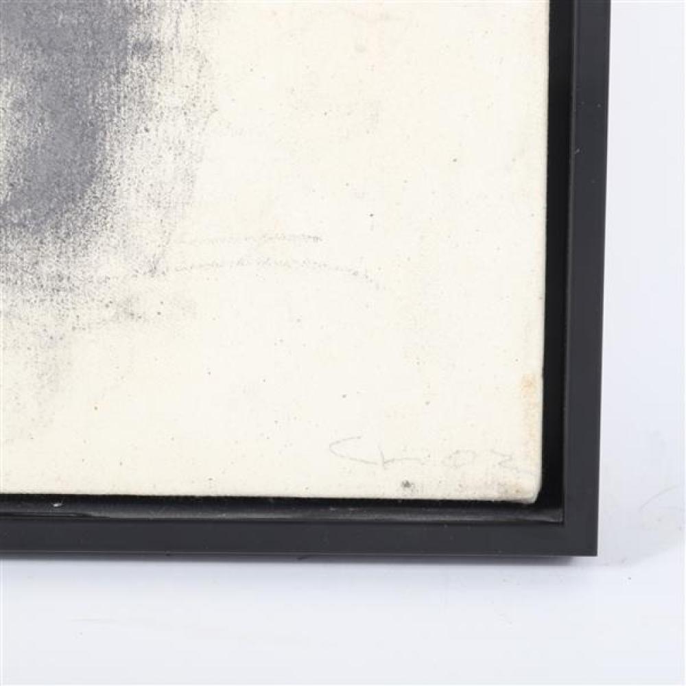Christos Koutsouras, (Greek, b.1957), expressionist profile portrait study, 2002, charcoal on canvas, 16