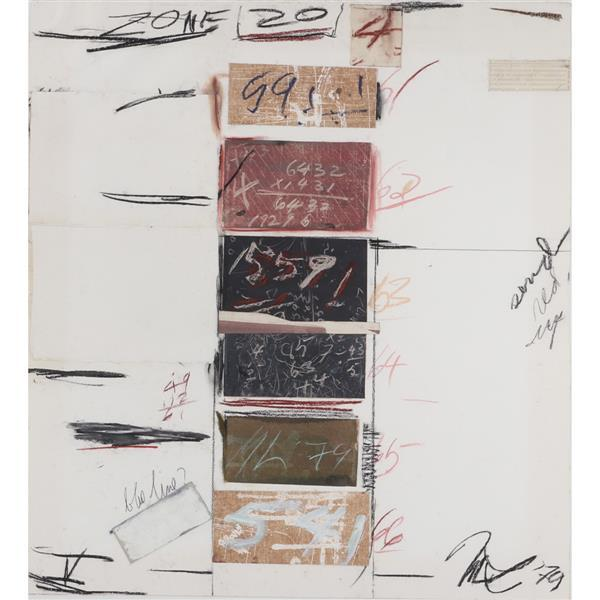 "Marvin Lowe, (Indiana, b.1927), Plan Series V Zone 20, 1970, mixed media; chalk, acrylic, collage on paper, 32 1/2""H x 29 1/2""W (pap..."