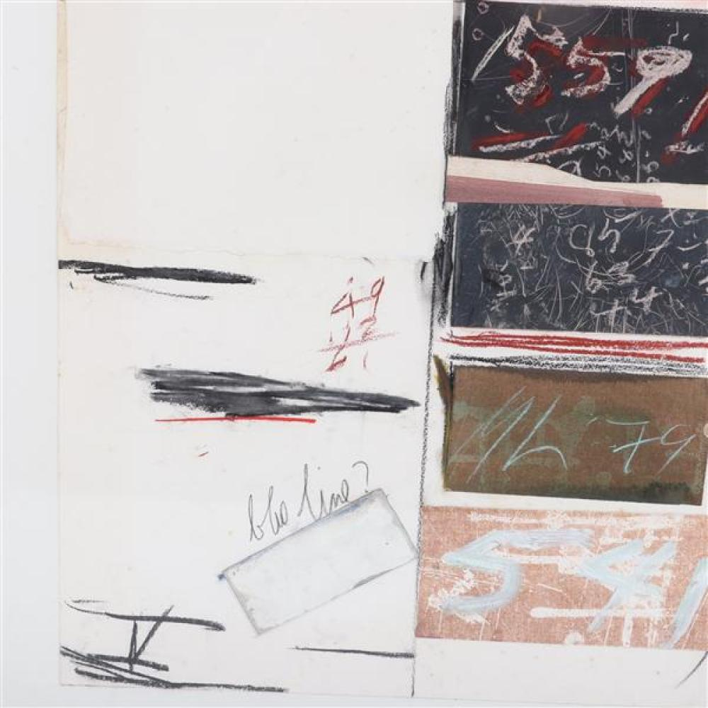 Marvin Lowe, (Indiana, b.1927), Plan Series V Zone 20, 1970, mixed media; chalk, acrylic, collage on paper, 32 1/2