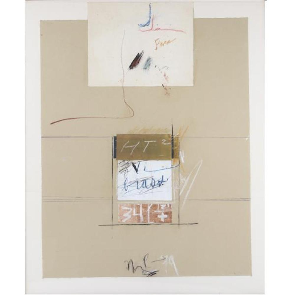 "Marvin Lowe, (Indiana, b.1927), HT2, 1979, mixed media; chalk, acrylic, collage on paper, 42 1/2""H x 34 3/4""W (sight), 44""H x 36""W (..."