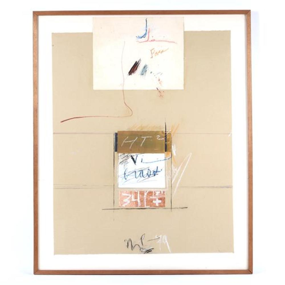 """Marvin Lowe, (Indiana, b.1927), HT2, 1979, mixed media; chalk, acrylic, collage on paper, 42 1/2""""H x 34 3/4""""W (sight), 44""""H x 36""""W (..."""