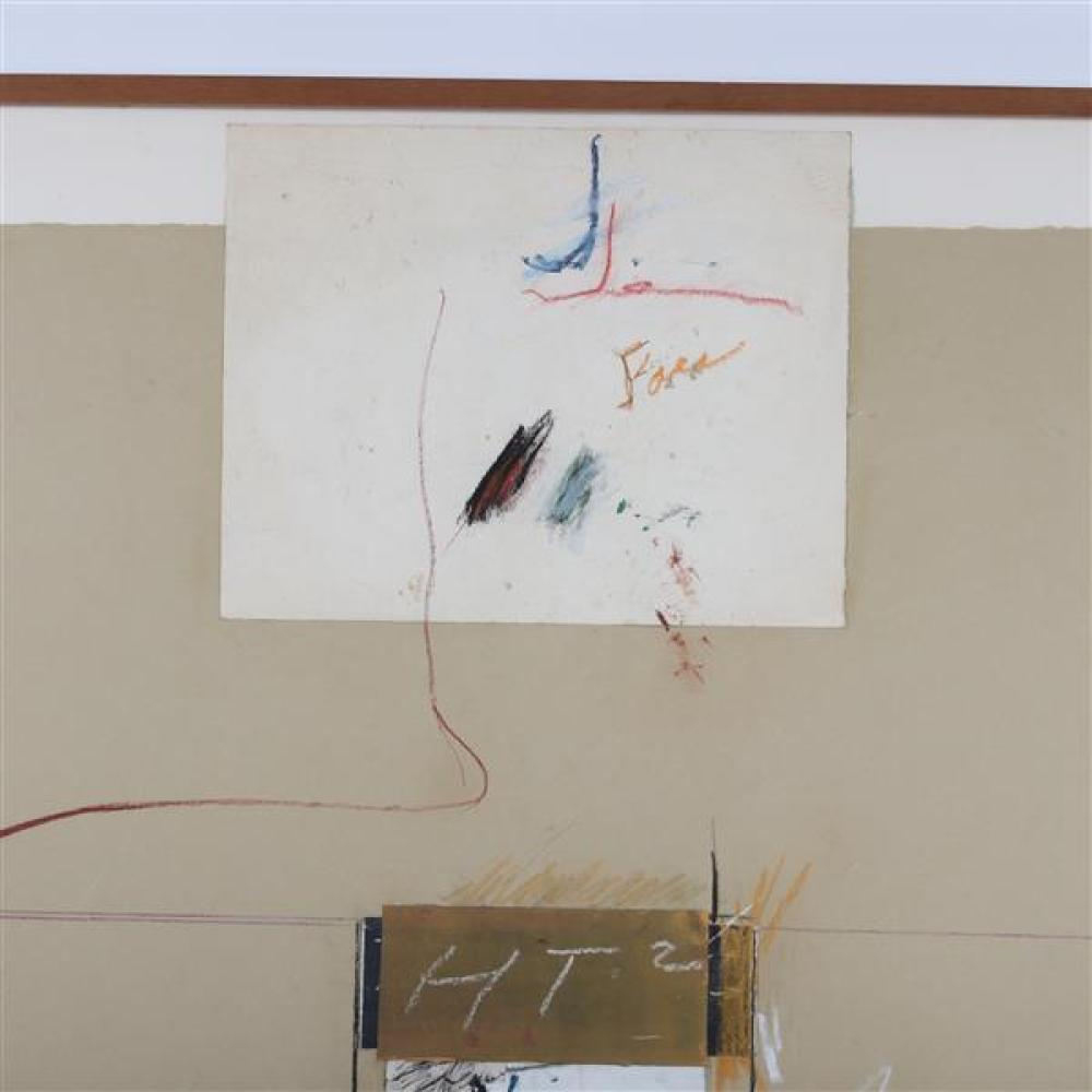 Marvin Lowe, (Indiana, b.1927), HT2, 1979, mixed media; chalk, acrylic, collage on paper, 42 1/2