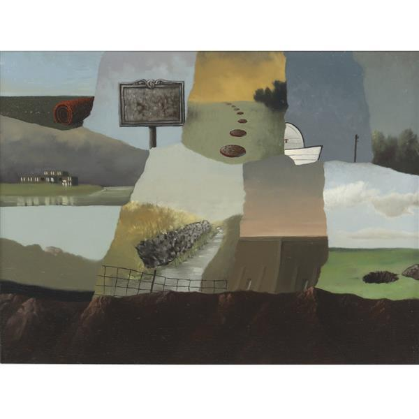 "Steve Paddack, (Indiana, 20th / 21st Century), Greetings from Nowhere, 1999, oil on canvas, 11 3/4""H x 15 1/4""W (sight), 14 1/4""H x..."