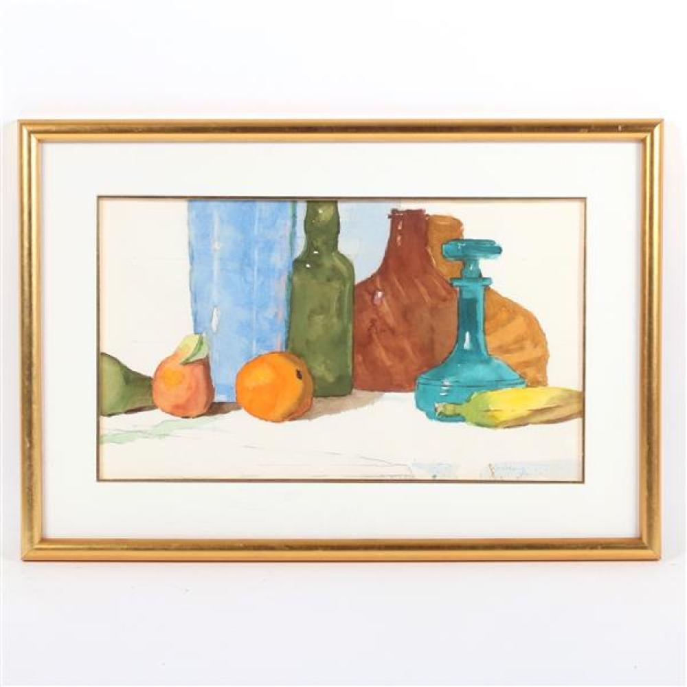 """W. Ray Stevens, (Indiana, b.1924), still life with fruit, ca. 1970-80, watercolor on paper, 12 1/4""""H x 21 1/4""""W (sight), 19 1/2""""H x..."""