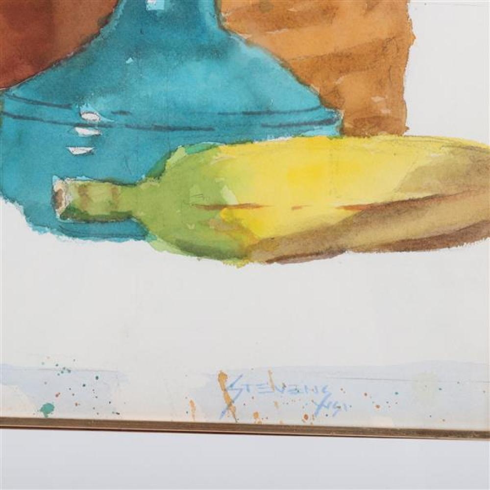 W. Ray Stevens, (Indiana, b.1924), still life with fruit, ca. 1970-80, watercolor on paper, 12 1/4