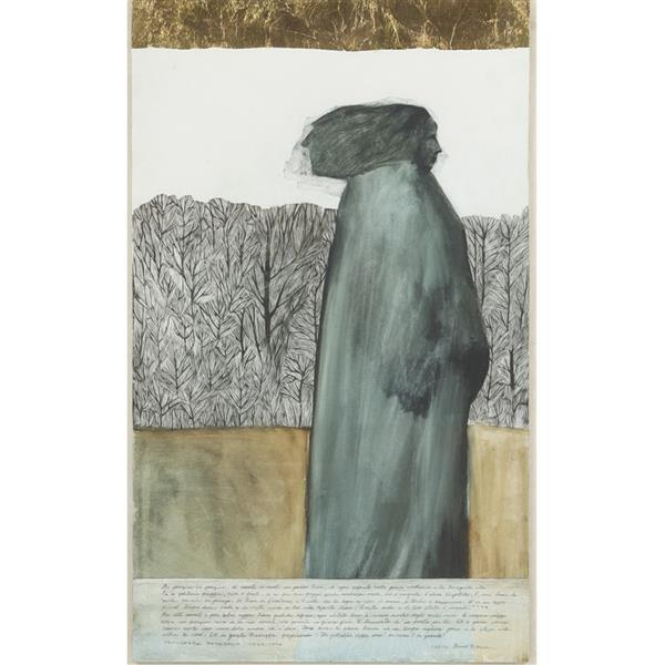 "Gerald G. Boyce, (Indiana / Illinois, 1925-1999), ""Distance and Solitude"", poem by Francesco Petrarch, 1590, watercolor / mixed medi..."