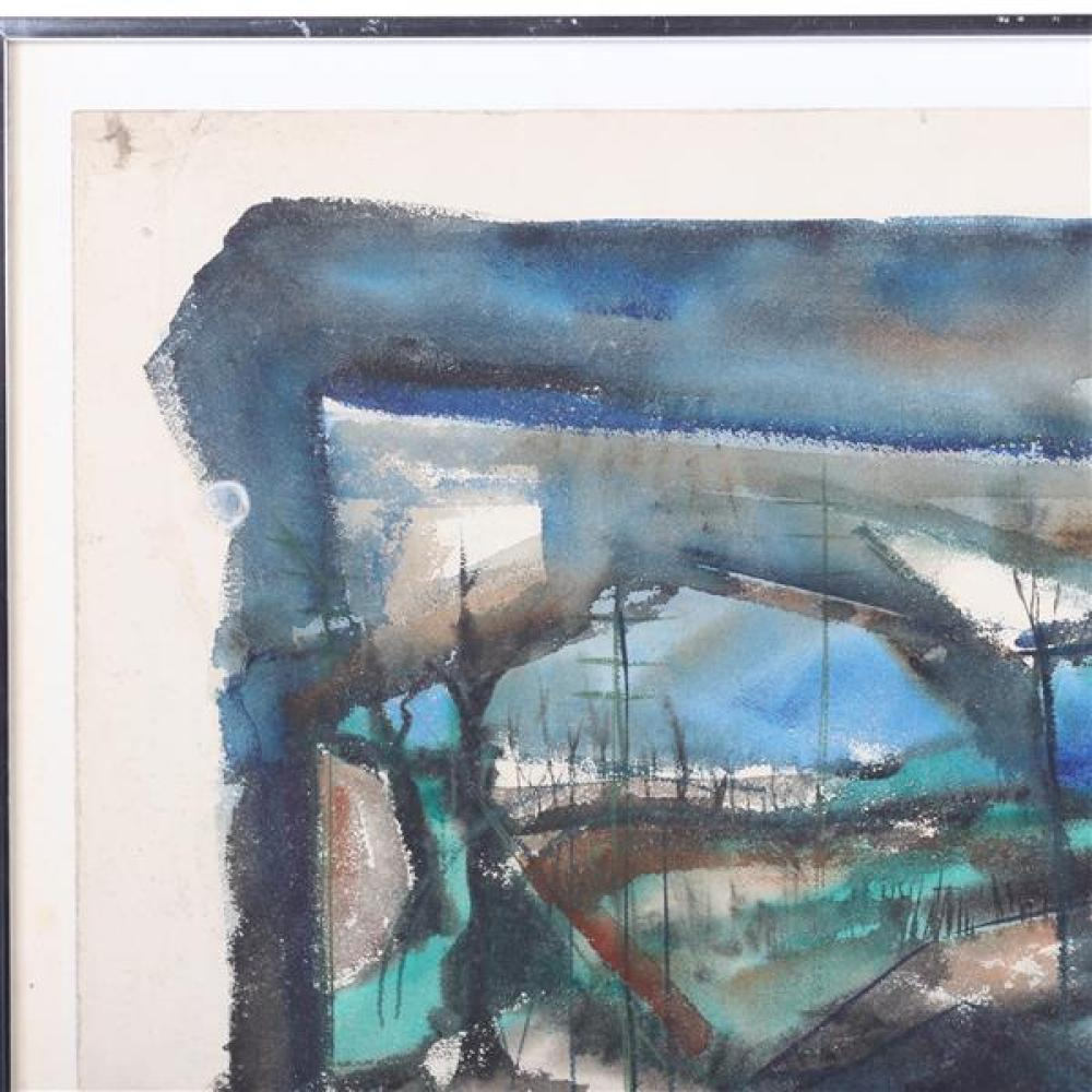 "Rinaldo Paluzzi, (Spanish/American, 1927 - 2013), abstract landscape, watercolor, mixed media on paper, 23 3/4""H x 18 3/4""W (sight),..."