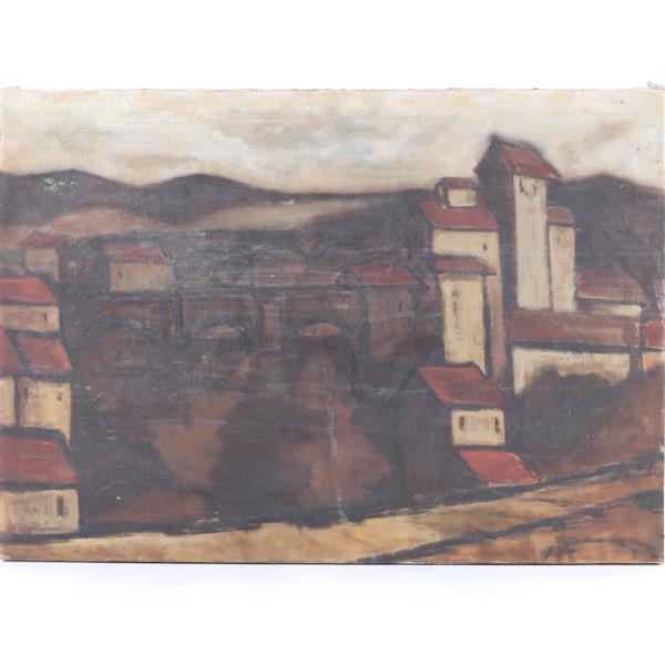 "Rinaldo Paluzzi, (Spanish/American, 1927 - 2013), modern landscape with bridge, oil on canvas, 24""H x 34""W"