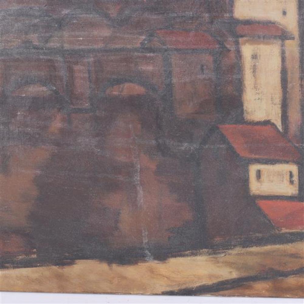 Rinaldo Paluzzi, (Spanish/American, 1927 - 2013), modern landscape with bridge, oil on canvas, 24