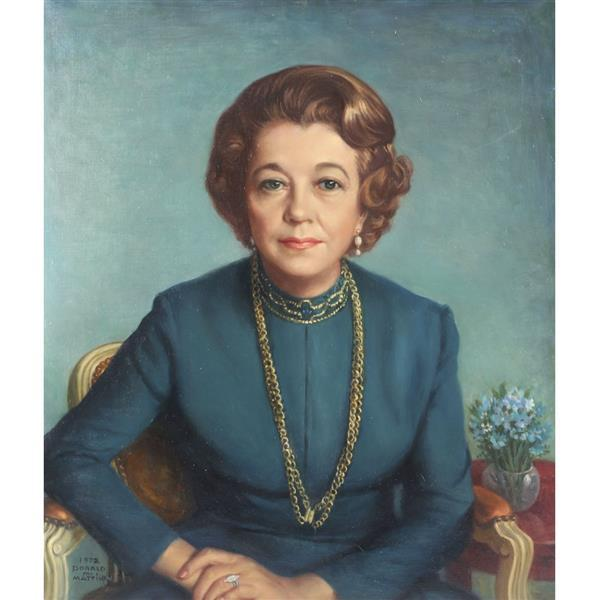 """Donald M Mattison, (Indiana/Wisconsin, 1905 - 1975), Portrait of a woman, oil on canvas, 27 1/4""""H x 23 1/2""""W (sight), 33 1/4""""H x 29..."""
