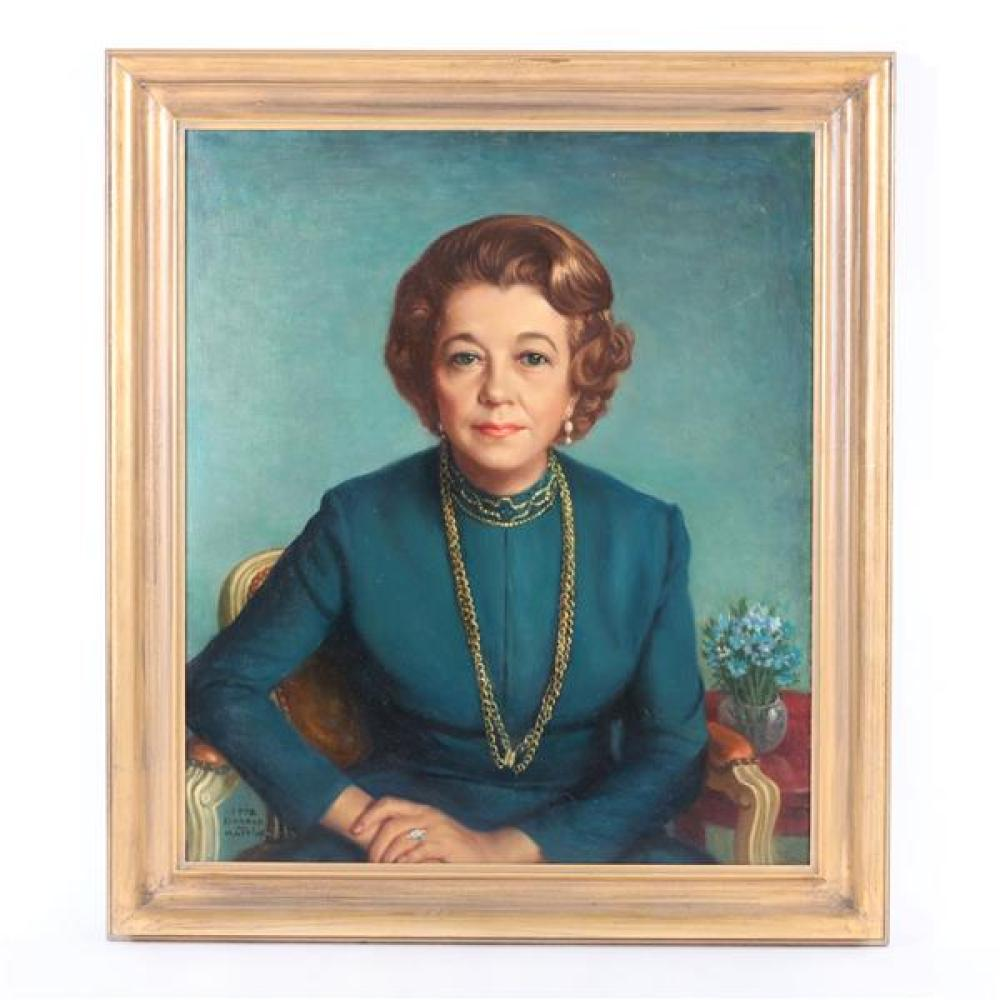 Donald M Mattison, (Indiana/Wisconsin, 1905 - 1975), Portrait of a woman, oil on canvas, 27 1/4