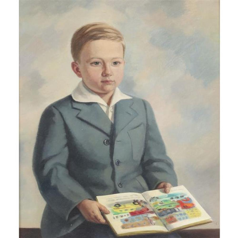 Edmund Brucker, (Indiana/Ohio, 1912-1999), Portrait of a young boy with Little Golden Book. Possibly the artist's son., oil on canva..