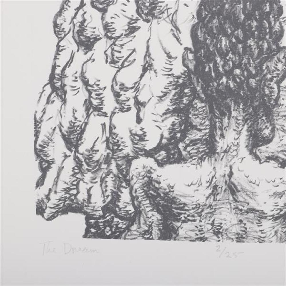 """Tom Keesee, (Indiana, b.1954), Two works, 1984, charcoal on paper, and """"The Dream"""", lithograph, 13 3/4""""H x 16 1/2""""W (image), 20""""H x..."""