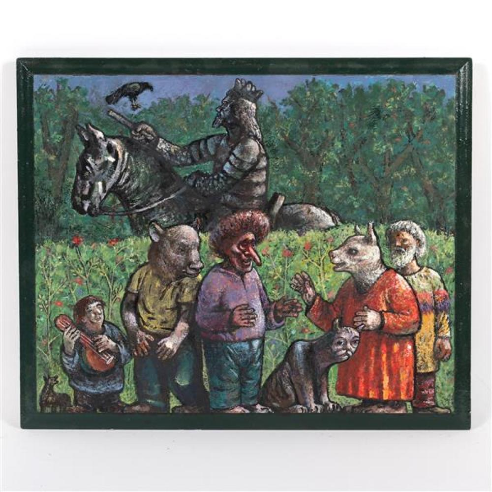 Paul Kane, (Bloomington, Indiana, 20th / 21st Century), statue of a king on horse with mythical creatures, 2017, oil on wood panel,...