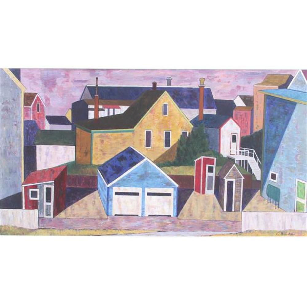 "Edmund Brucker, (Indiana / Ohio, 1912-1999), Provincetown Buildings, ca.1940s, oil on masonite panel, 21 1/2""H x 40""W (sight), 25 1/..."