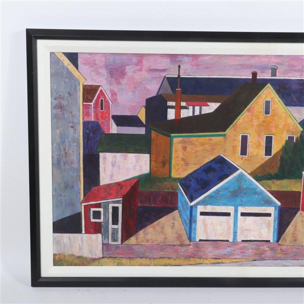 Edmund Brucker, (Indiana / Ohio, 1912-1999), Provincetown Buildings, ca.1940s, oil on masonite panel, 21 1/2