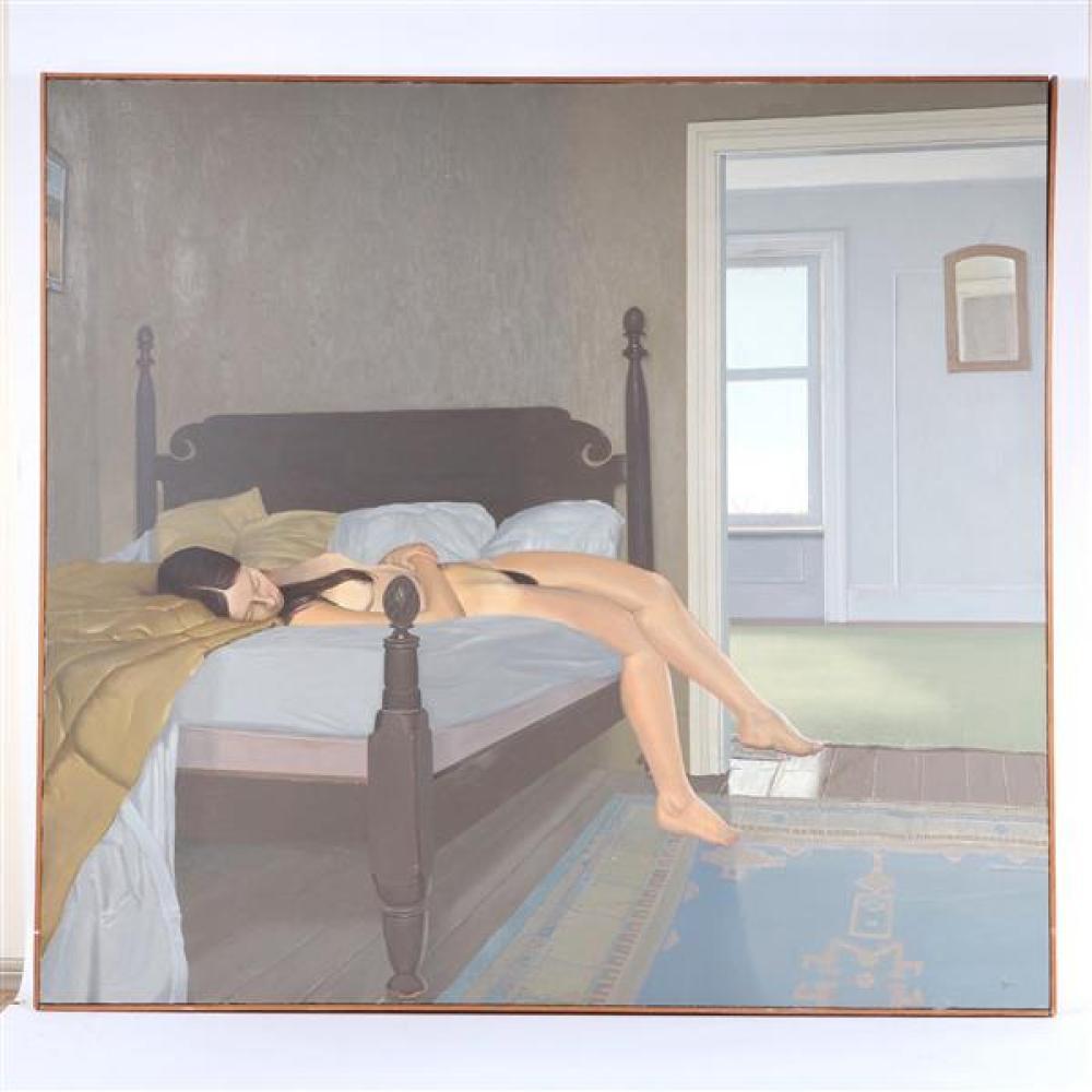 """Donald Wynn, (American, b. 1948), reclining nude, oil on canvas, 45""""H x 48 3/4""""W (sight), 46""""H x 49 1/2""""W (frame)"""