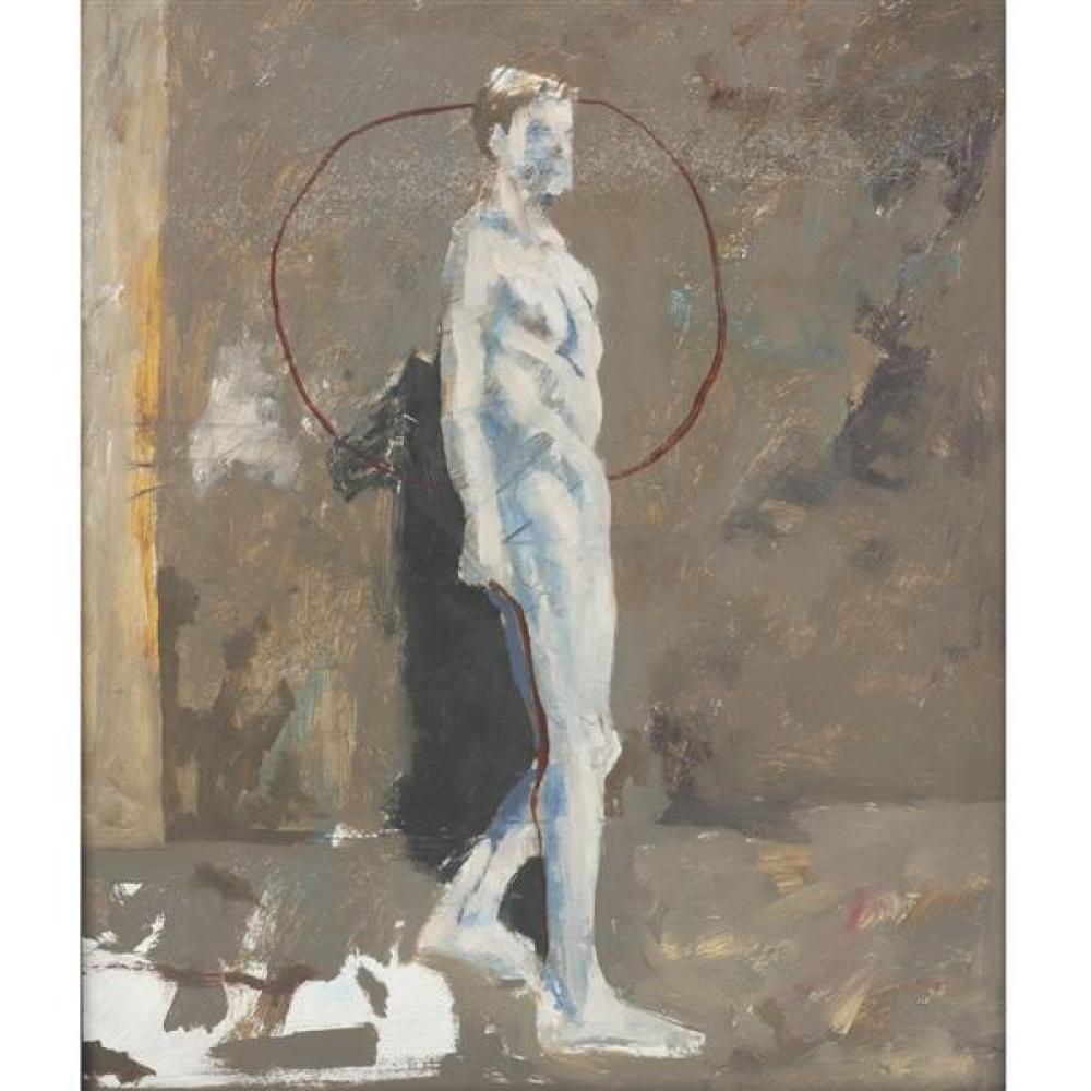 "James McGarrell, (American, 1930), standing male nude / figure study, oil on board, 18 1/2""H x 15 1/2""W (sight), 20 1/4""H x 17 1/4""W..."