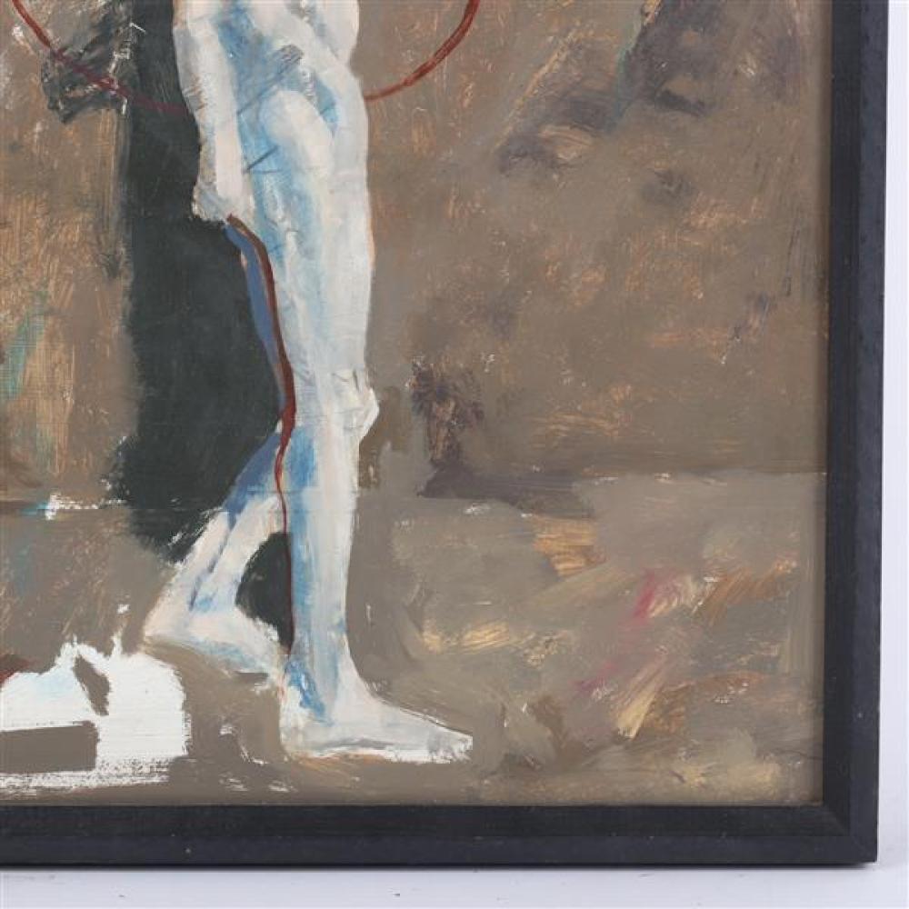 James McGarrell, (American, 1930), standing male nude / figure study, oil on board, 18 1/2