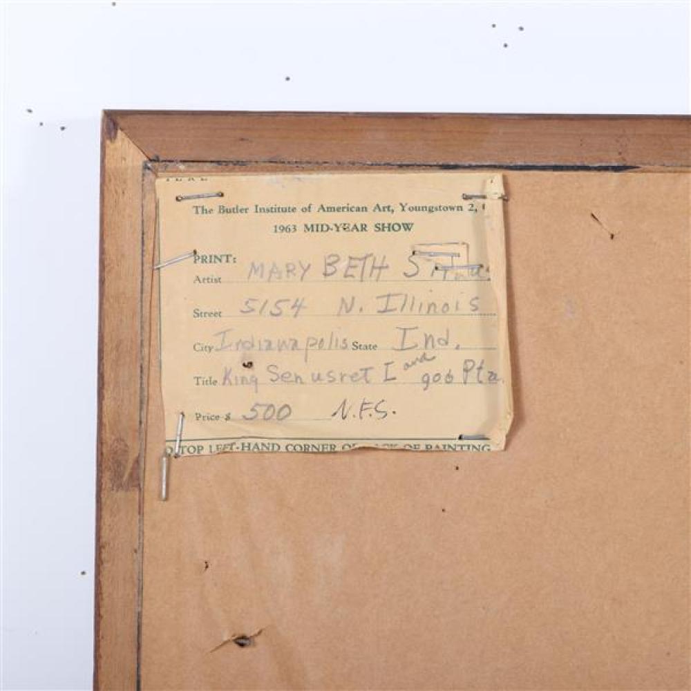 """Mary Beth Edelson, (American, b. 1933), King Senusret I and God Ptuh, oil on board, 25 1/2""""H x 19 1/4""""W (sight). 28""""H x 22 1/4""""W (fr..."""