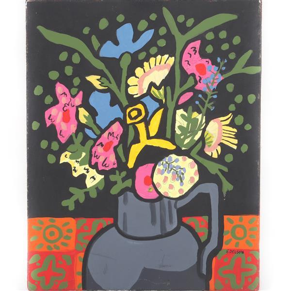 """Mary Beth Edelson, (American, 1933), still life with flowers, acrylic on canvas, 19 3/4""""H x 15 3/4""""W"""