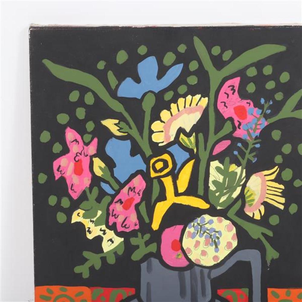 Mary Beth Edelson, (American, 1933), still life with flowers, acrylic on canvas, 19 3/4