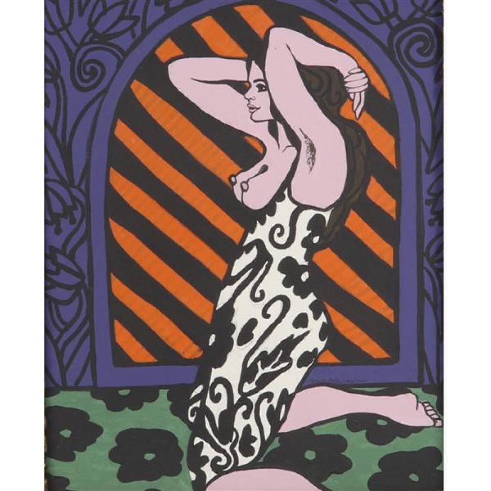 "Mary Beth Edelson, (American, b. 1933), kneeling nude, oil on board, 19 1/2""H x 15 1/4""W (sight), 30 1/2""H x 26 1/2""W (frame)"
