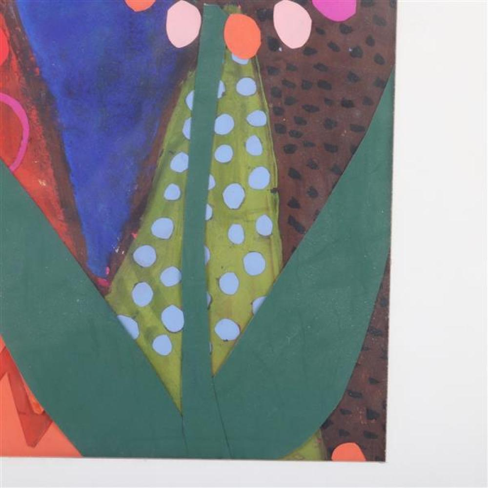 """Mary Beth Edelson, (American, b. 1933), flowers, mixed media, acrylic, paper collage, 11""""H x 8 1/2""""W (sight), 17 1/4""""H x 14 1/4""""W (f..."""