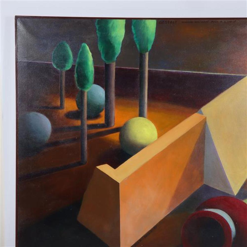 "Doris Vlasek-Hails, (American, 1938-2004) , ""Gestalt- Vaughan Williams Mass in G Minor"" , surreal acrylic on canvas, 41 1/2"" x 48 3/..."