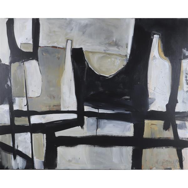 """Cindy Wingo, (American, 20th century), Black & White Table with Bowl & Bottles, Acrylic on Canvas, 48""""H x 60""""W"""