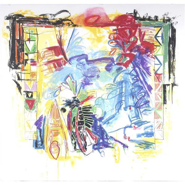 """Terence LaNoue, (New York / Indiana, b.1941), TL90-1078, 1991, large scale lithograph with hand coloring, 43 1/2""""H x 45 1/4""""W"""