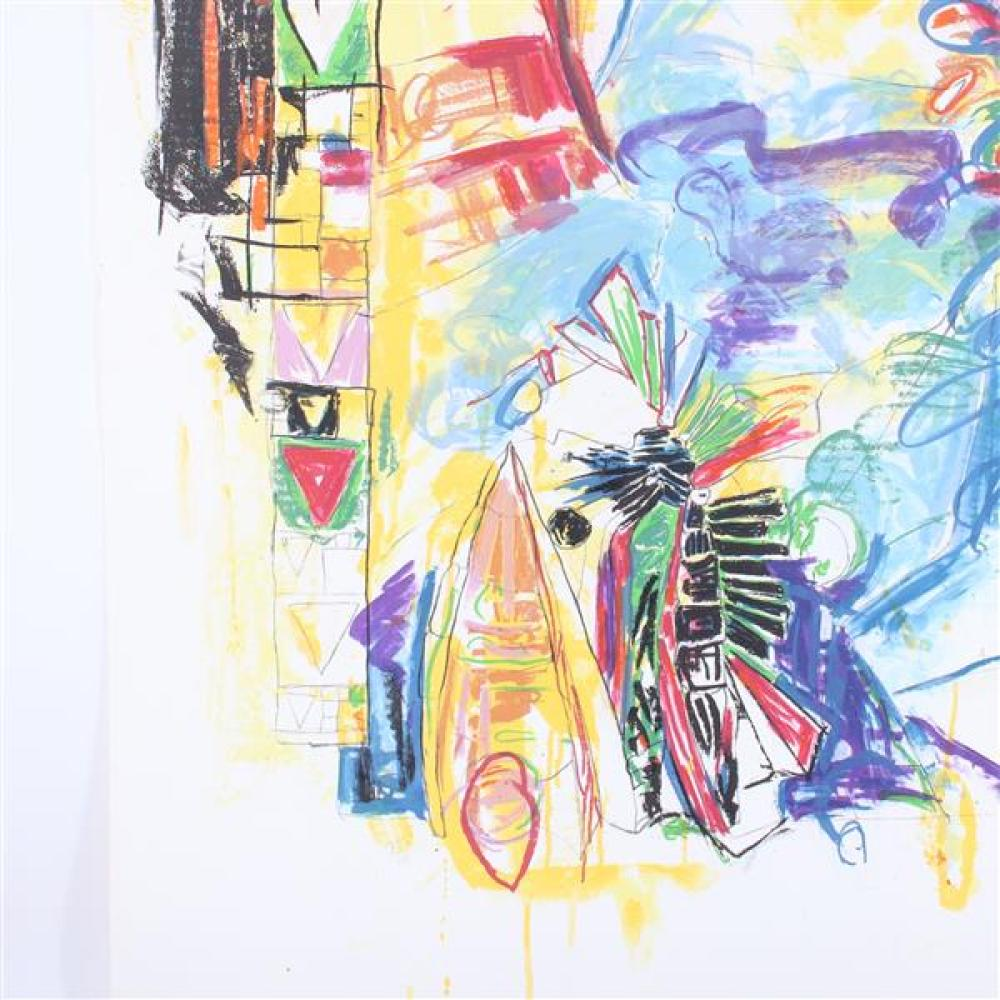 Terence LaNoue, (New York / Indiana, b.1941), TL90-1078, 1991, large scale lithograph with hand coloring, 43 1/2
