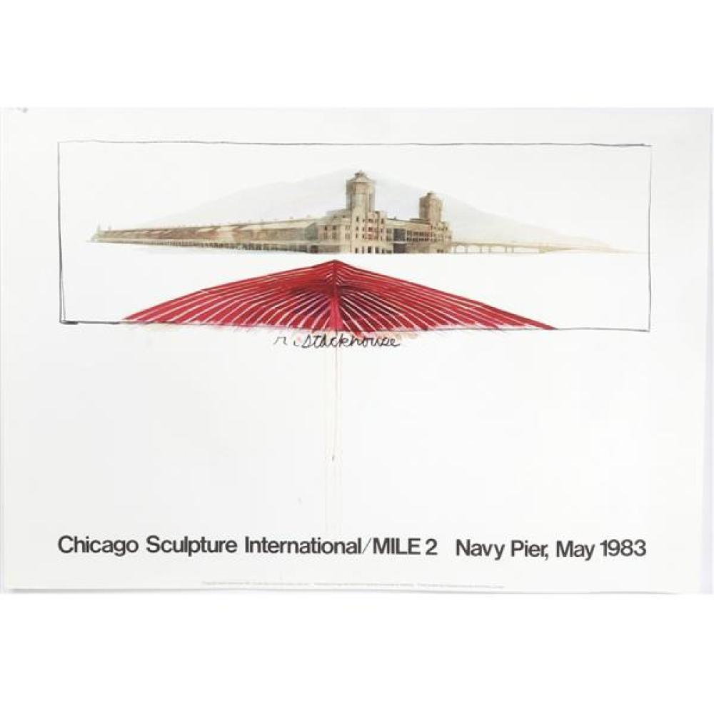 Chicago Sculpture International / Mile 2 Art Exposition lithograph Exhibition poster, Navy Pier, 1983.