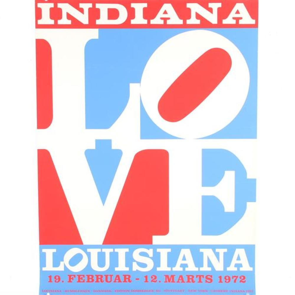 "Robert E (Clark) Indiana, (Indiana, 1928-2018), ""Louisiana/Love"" 1972, lithograph poster, 33 3/4""H x 24 1/2""W"