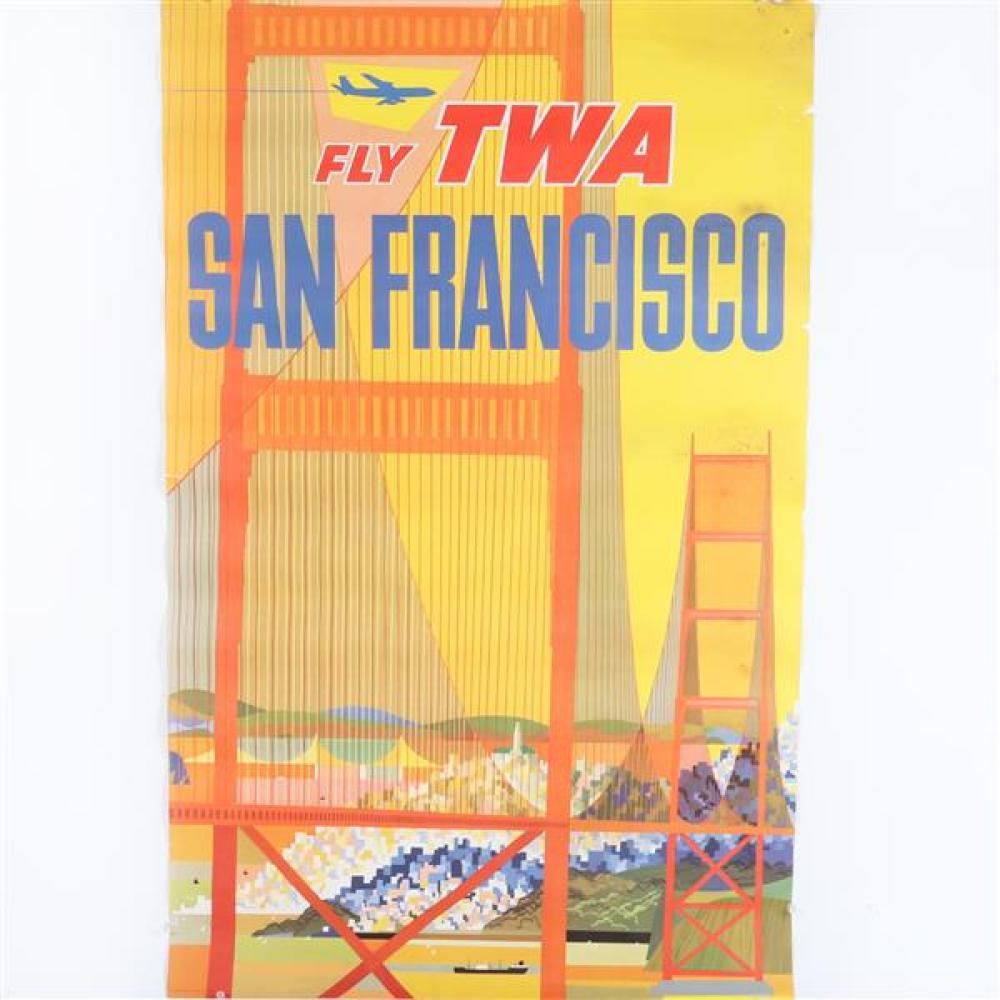 Vintage Fly TWA San Francisco travel poster lithograph, ca 1960.