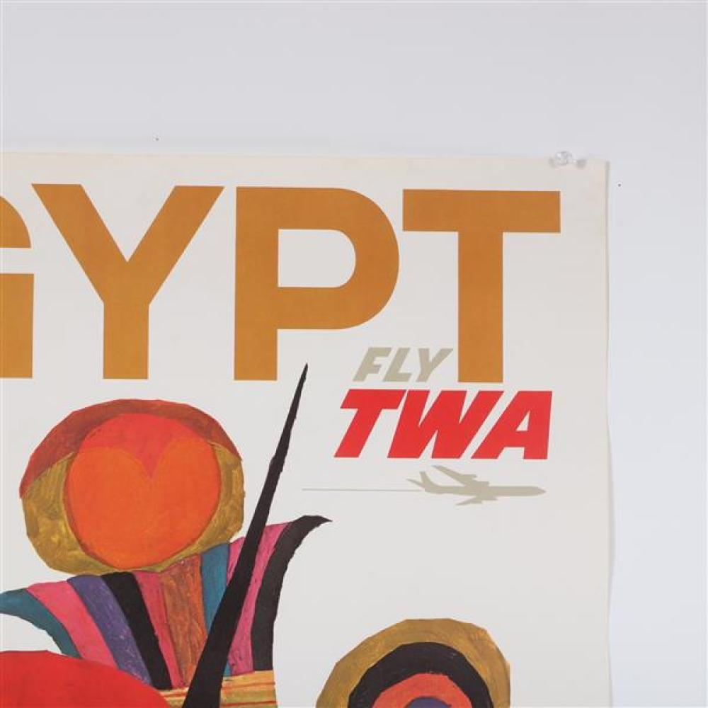 Three vintage Fly travel poster lithographs; The Orient, Egypt, Holy Land.