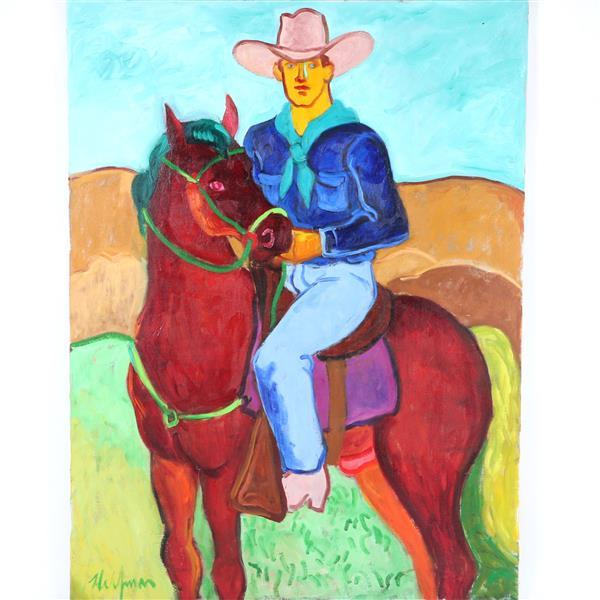 "Sydney Helfman, (California/New York, 1926-2010), Cowboy on horse, oil on canvas, 40""H x 30""W"
