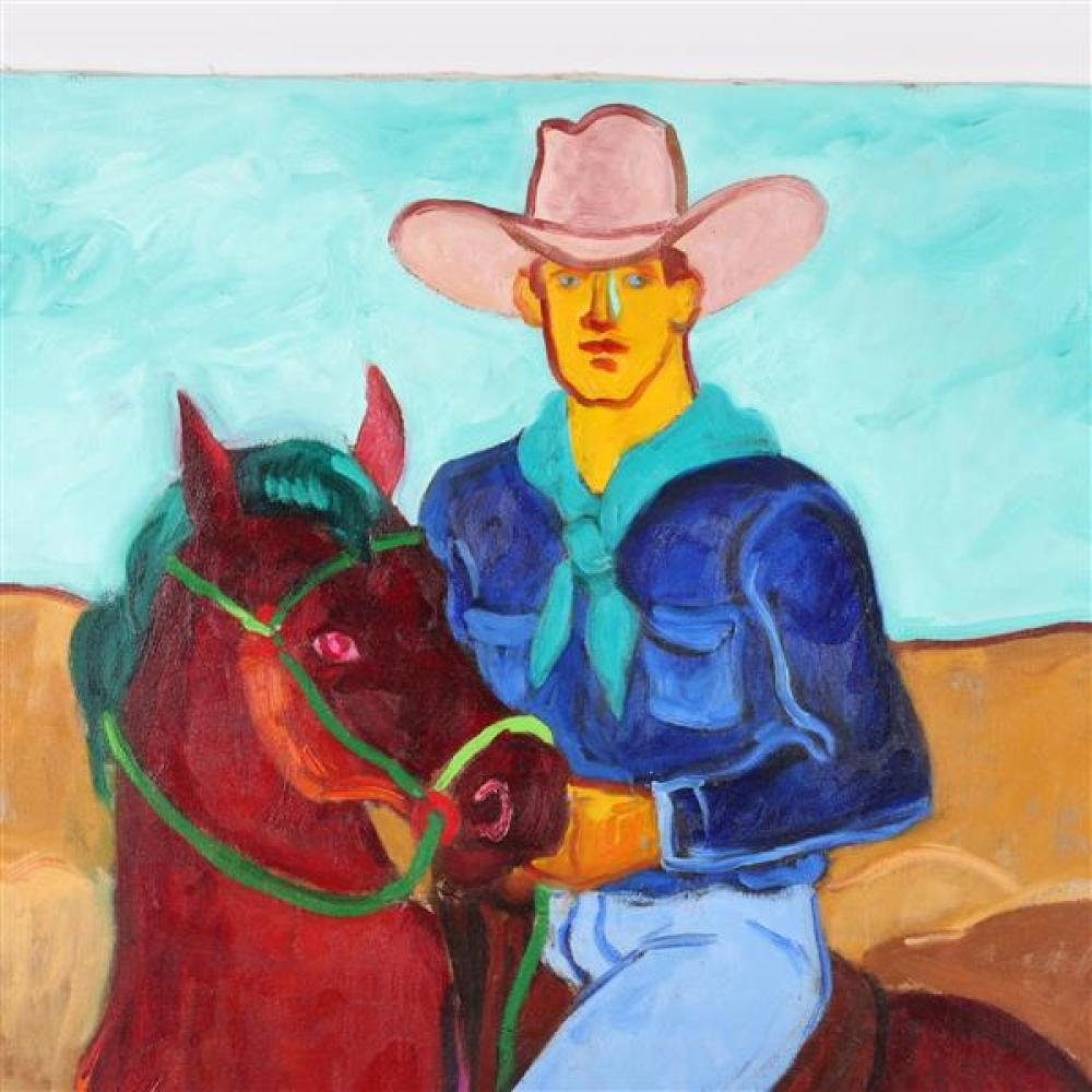 Sydney Helfman, (California/New York, 1926-2010), Cowboy on horse, oil on canvas, 40